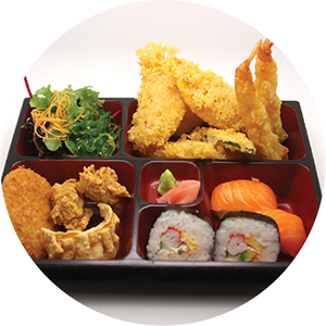 B4.	Prawn & Mix Vegetables Bento Box <br>什錦天婦羅套餐 <br>$:18.90 <br><i>*</i> Buy any Bento Box or Rice get one miso soup free
