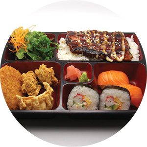 B6.	Eel Bento Box <br>鰻魚套餐 <br>$:18.90 <br><i>*</i> Buy any Bento Box or Rice get one miso soup free