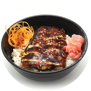 D6.	Eel Don <br>鰻魚飯 <br>$:15.00 <br><i>*</i> Buy any Bento Box or Rice get one miso soup free